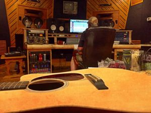 Music studio and guitar